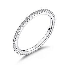 Wostu elegante anel empilhável 100% 925 prata esterlina círculo anéis geométricos zircon para presente de jóias de casamento feminino fir066