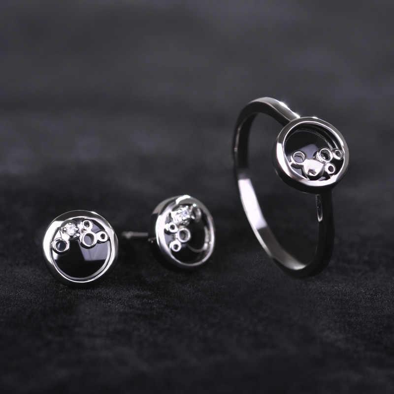MECHOSEN Einfache Keramik Ohrringe & Ringe Sets AAA Zirkon Kleine Stud Ohrringe Runde Dünne Ringe Porzellan Schmuck Satz Mit Geschenk box
