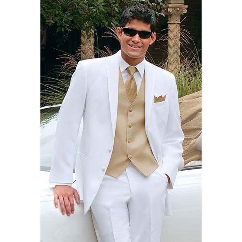 Golden Vest White Best Men Tuxedos Suit For Summer Beach Wedding Groom Mens Suits Masculino Ternos (Jacket +Pants+Vest+Tie)