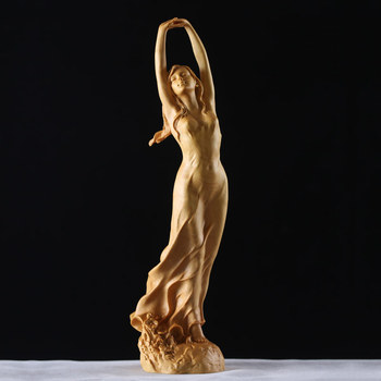 Chinese Boxwood Female in Nightgown Sculpture