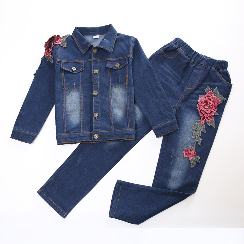 Children Jeans Outfits for Girls Cartoon Clothing Sets for Kids Denim Jackets & Pants Suits 2 4 8 10 12 Years Girls Clothes Sets