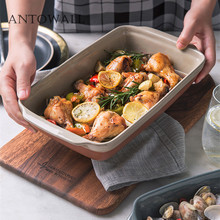 ANTOWALL Simple ceramic double-ear plate oven baking pan large rectangular salad dish Risotto bowl plate