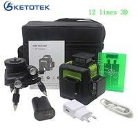 12 линий 3D лазерный уровень США/ЕС Plug платные наливные 360 Горизонтальные и вертикальные зеленый лазерный луч линии открытый импульсный режим