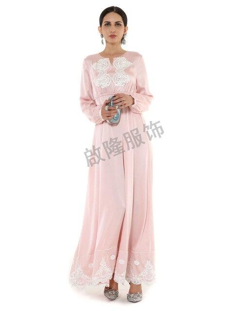 Nieuwe roze zijde maxi jurk vrouwen lange mouw kant patchwork lente volledige lengte pretty party slim jurken