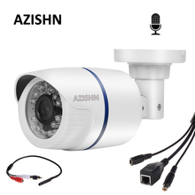 AZISHN Megapixel 720P 960P 1080P IP Camera Micro Bullet Camera Audio External Microphone 24IIR Outdoor Security IP Cam CCTV