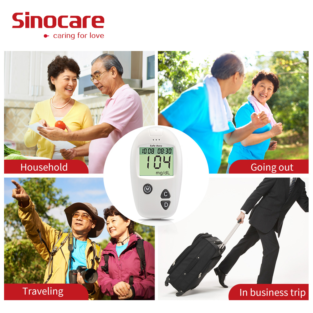 Sinocare Safe Accu Blood Glucose Meter Glucometer Diabetes Tester 50 100 Separated Test Strips Lancets Medical Blood Sugar Meter in Blood Glucose from Beauty Health