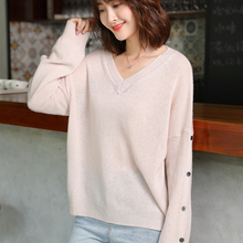 LHZSYY 2019Womens Spring New Tops Pure Cashmere Sweater Fashion V-Neck Large size High-end Pullover Knit Bottoming Shirt flimsy