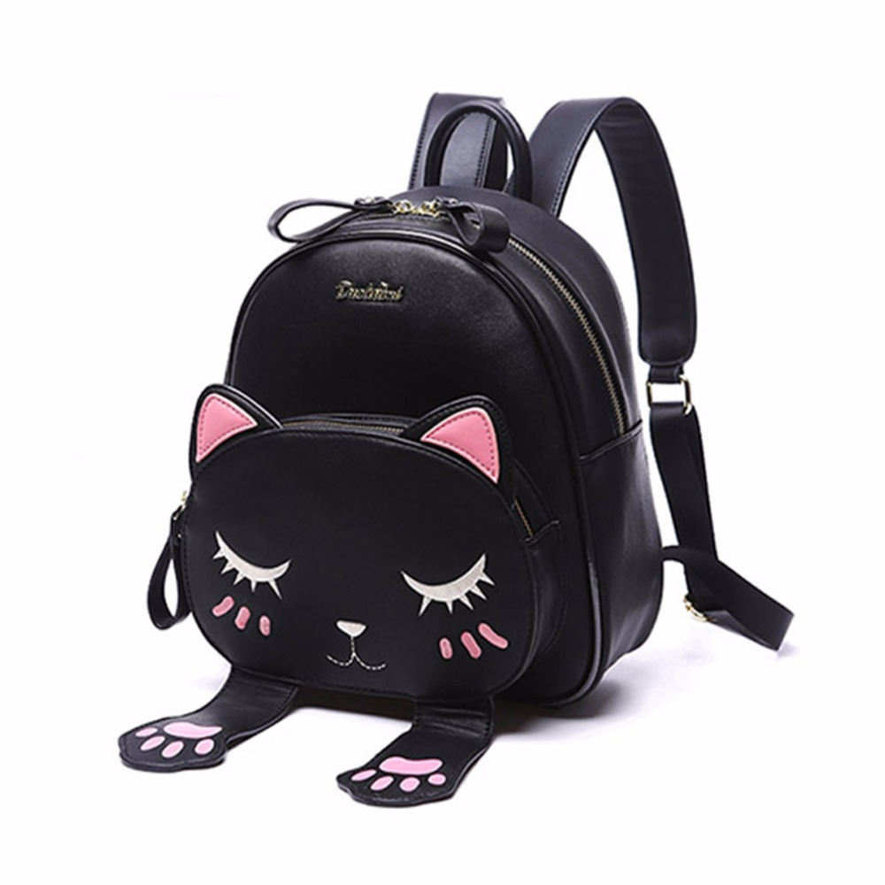 2018 New Women Cute Cat Backpack Kawaii Backpacks School Bag For Student Teenagers Lovely Rucksack Cartoon Bookbags Mochilas