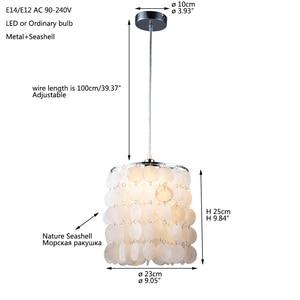 Image 4 - Современная Белая Подвесная лампа в скандинавском стиле из натуральных морских ракушек, светильник E27 светодиодные лампы для дома deco для спальни, гостиной, ресторана
