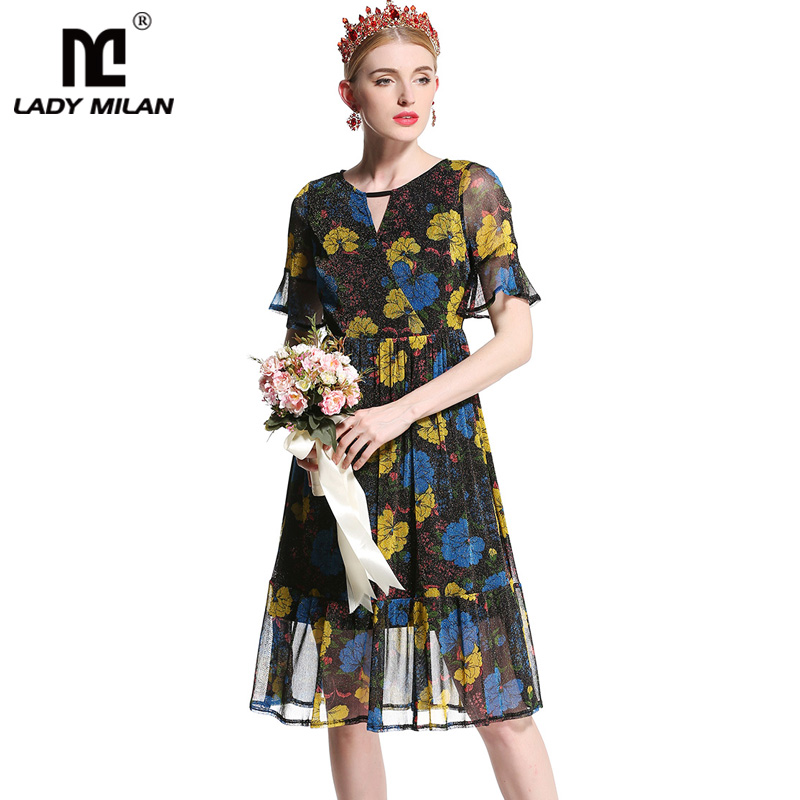 2018 Womens O Neck Short Sleeves Sexy Keyhole Floral Printed Ruffles High Street Fashion Dresses