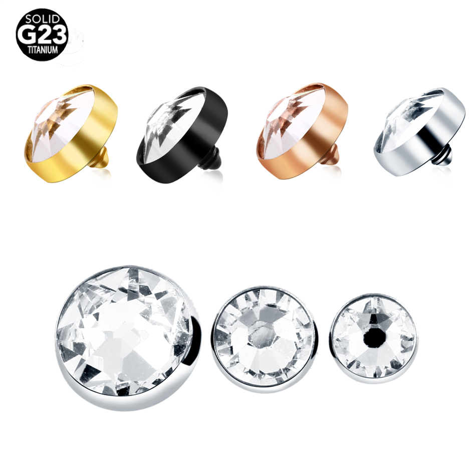 1pc g23 titânio micro dermal âncora topo piercing clara gem pele diver dermal âncora superfície piercing implantes sexy jóias
