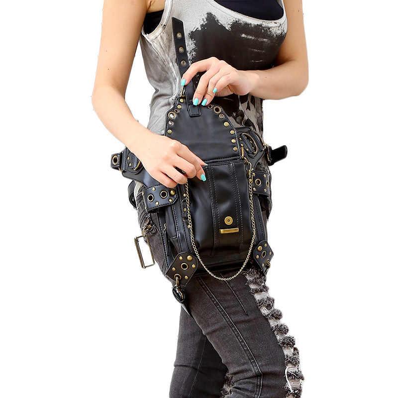 スチームパンク太ももホルスター保護された財布ショルダーリュック財布革女性バッグcarteras mujerバッグ太ももモーター脚アウトローパック
