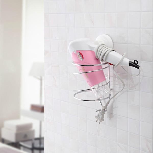 Hair Dryer Holder Hairdryer Support Bathroom Accessories Wall Mounted Sucker Rack Shelf Storage