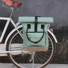 Tourbon בציר אופניים תיק רטרו אופני טנא תיקי רכיבה על אופניים אחורי מושב חבילת פנאי Crossbody כתף מחשב נייד תיק עיר תרמיל
