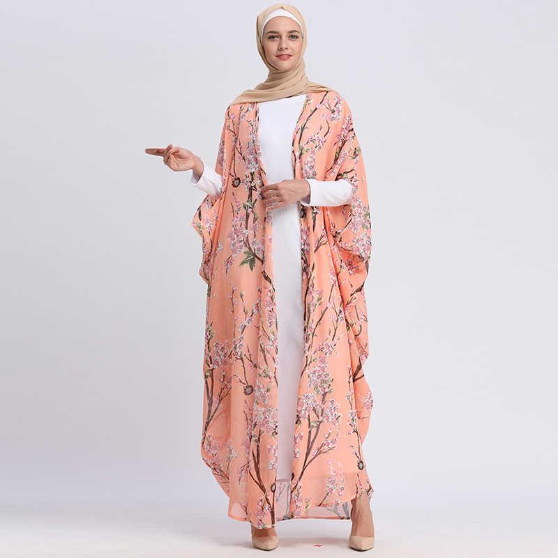 アバヤドバイカフタンイスラムロングバットウィング花カーディガンイスラム教徒ヒジャーブドレス女性 Jilbab カフタンため Abayas トルコイスラム服