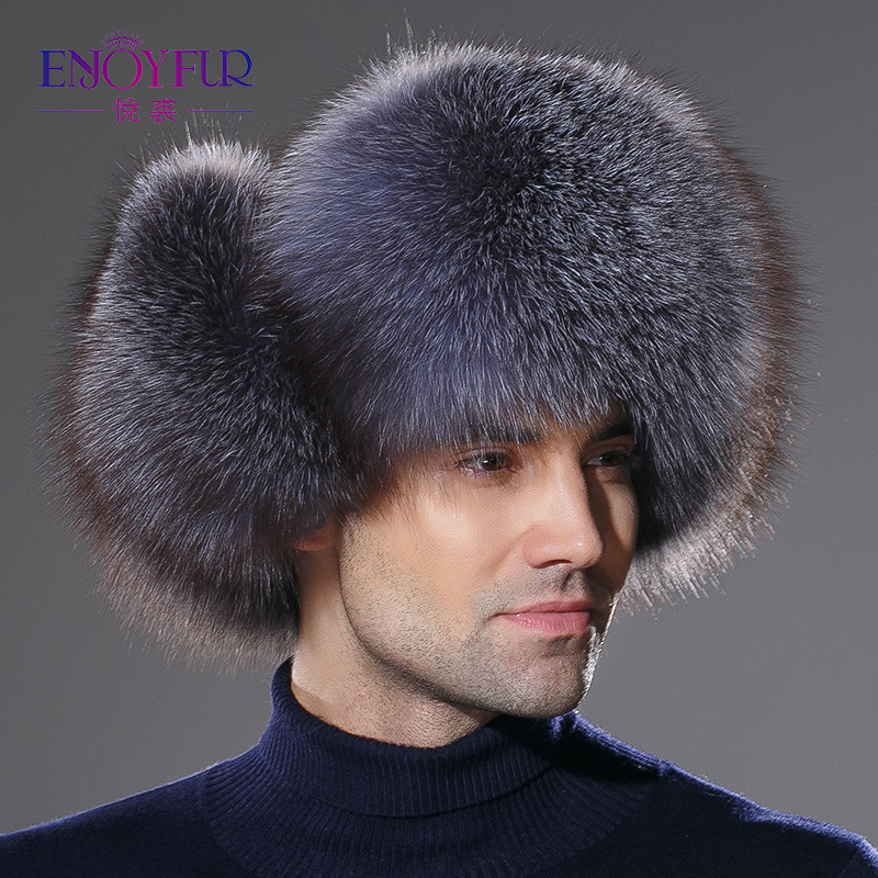 Men Winter Fur Hat Genuine Leather Bomer Fur Hat For Men Ear Protect Raccoon Fur Cap Thick Warm Good Quality Winter Hat