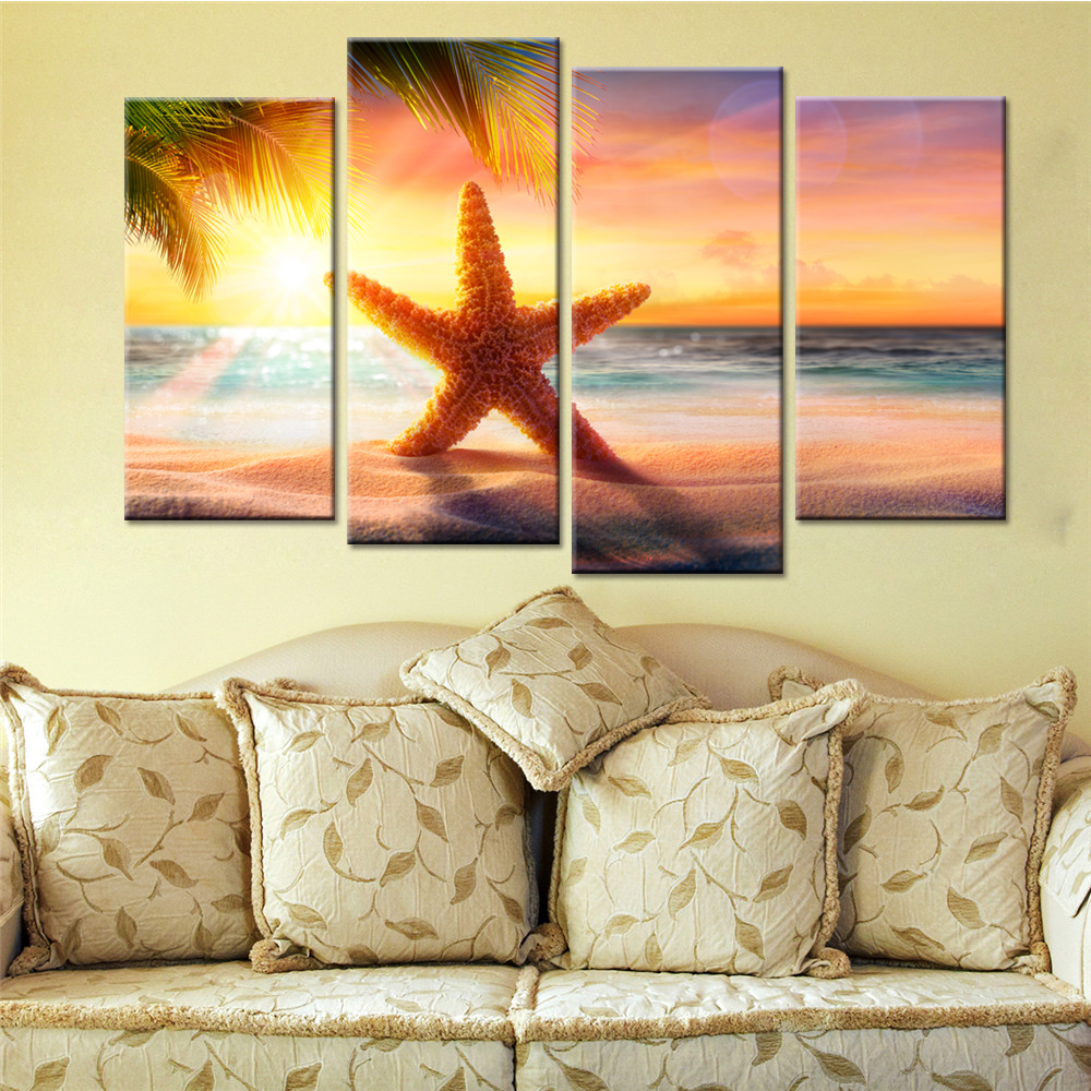 Modern HD Printed Wall Art Framework Canvas Pictures 4 Pieces Beach ...