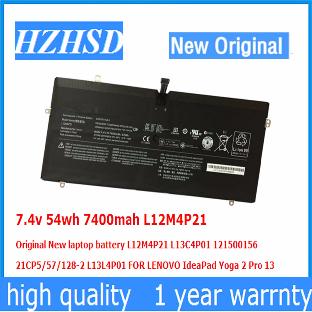 7.4v 54wh 7400mah L12M4P21 Original New Laptop Battery L12M4P21 L13C4P01 121500156 L13L4P01 FOR LENOVO IdeaPad Yoga 2 Pro 13