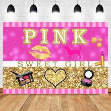 NeoBack Sweet Girl Pink Makeup Party Photography Background Lipstick Eyeshadow custom Gold Shiny Booth Backdrop Photo Studio