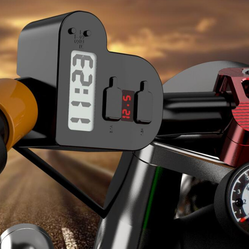 Universal USB Motorcycle Waterproof Charger Motorbike Adapter Electric Bicycle Digital Voltmeter Gauge Handlebar New Car-Styling