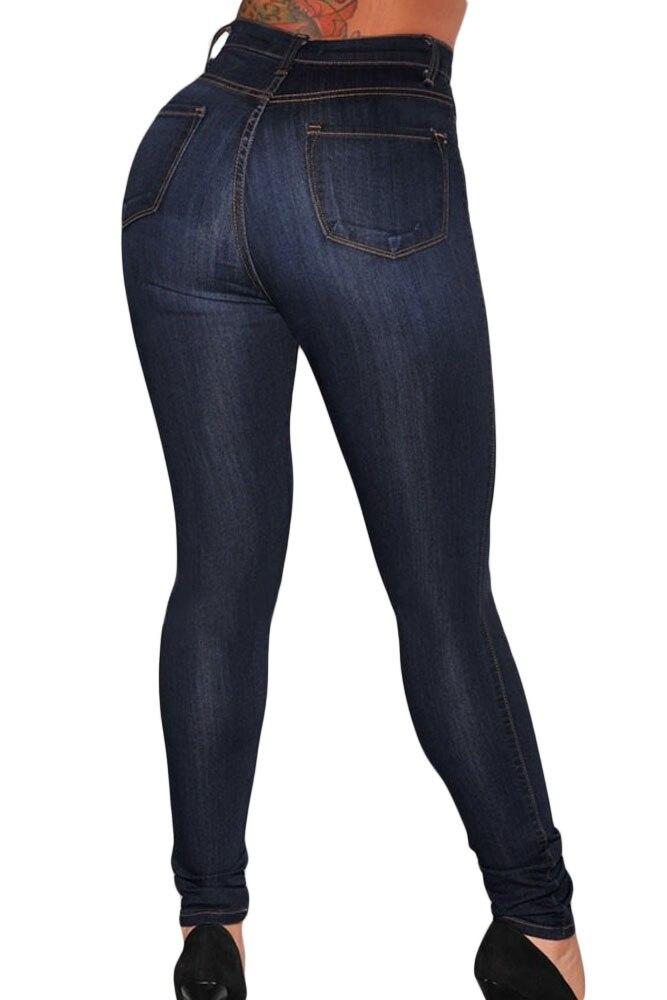 67623878c12 Blue Medium Wash Denim High-Waist Skinny Jeans Vintage Denim Casual Pants  Women Zipper Cool Streetwear Boyfriend Pants
