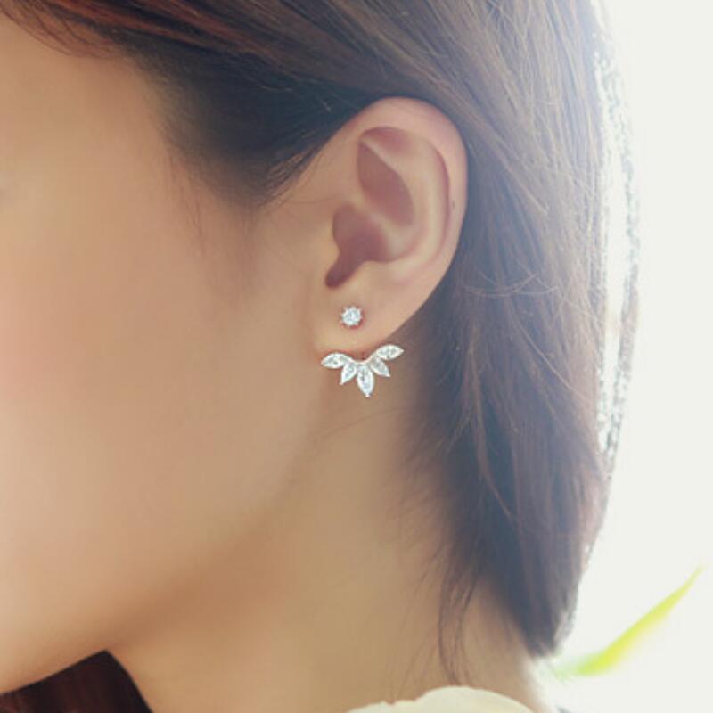 Leaf Crystals Stud Earrings for Women Silver color Double Sided Fashion Jewelry Earrings female Ear Jacket Earrings For Women(China)