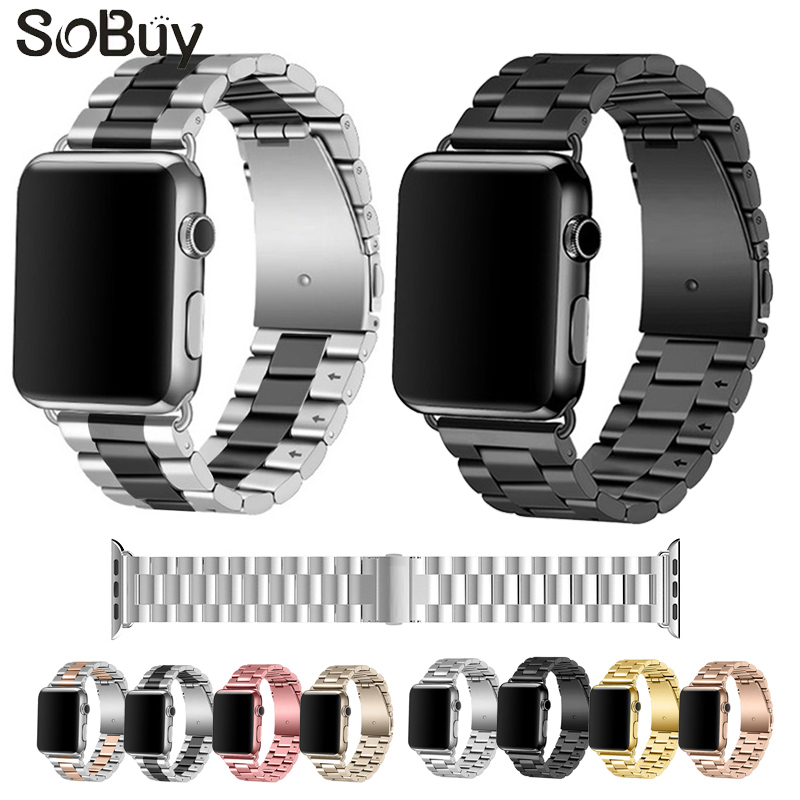 So buy for Apple Watch 1/2/3 sport Series 316l Stainless Steel iwatch strap 38mm Metal Link Bracelet 42mm watch Wrist band S1 S2
