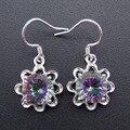 2016 Новая Мода 100% Стерлингового Серебра 925 Радуга Мистик Топаз Серьги Для Женщин Fine Jewelry