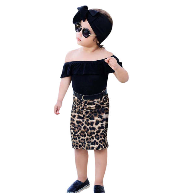 online store 9ba4b 32831 Toddler Kids Baby Girl Off Should T shirt Tops+Leopard Print Skirt Clothes  Set kinder kleider junge fortnight costume
