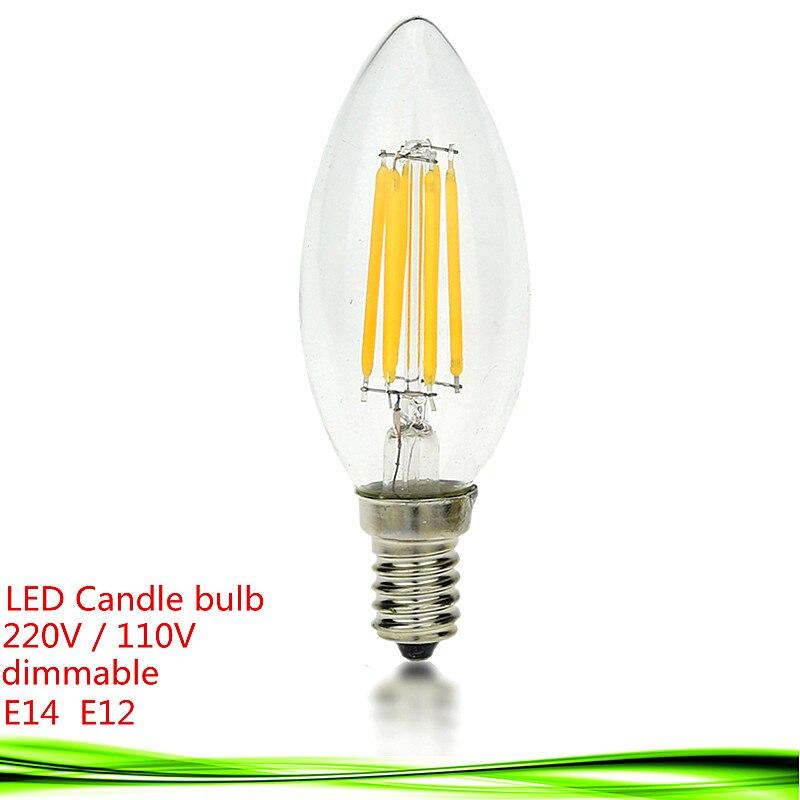 1x <font><b>LED</b></font> cacdle лампа E14 E12 затемнения 4 Вт 6 Вт 9 Вт накаливания светодиодные edison свечах 220 В 110vac светодиодные лампы Стекло тени светодиодные лампы