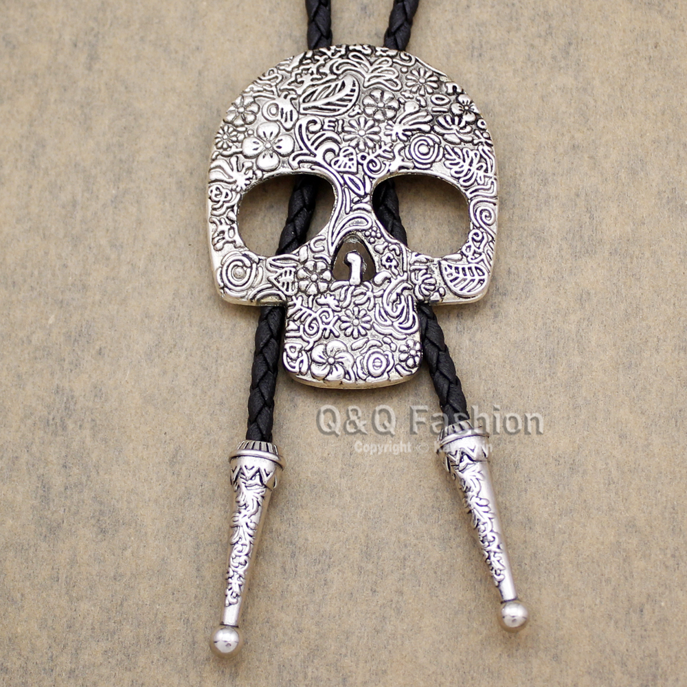 Southwest Indian Big Skull Brocade Leather Lariat Neckace Bolo Tie Line Dance Special Necklace