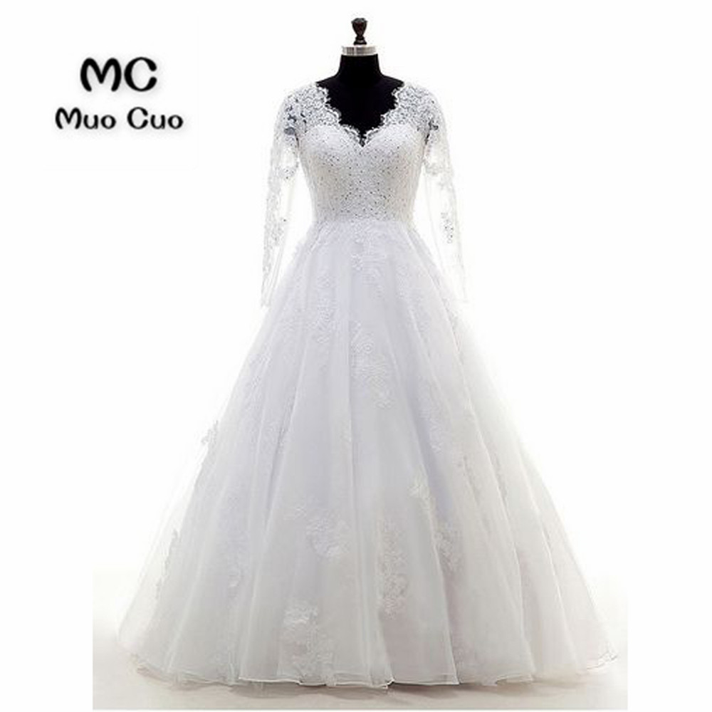 2018 Wedding Dresses with Long Sleeves Lace Flowers Zipper Back Button Robe de mariage vestido de noiva Count Train Bridal Gowns