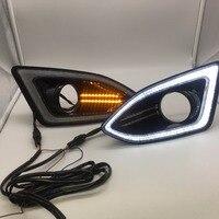 Стайлинга автомобилей светодиодный DRL для Ford Edge 2015 2018 светодиодный DRL дневного света 12 В Водонепроницаемый Туман лампа DRL с крышкой противот