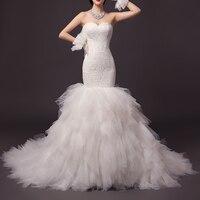 Dantel Mermaid Gelinlik Sevgiliye Draped Uzun Tren Vintage Beyaz Sonbahar Kış Gelin Törenlerinde vestido de nzoiva robe mariage