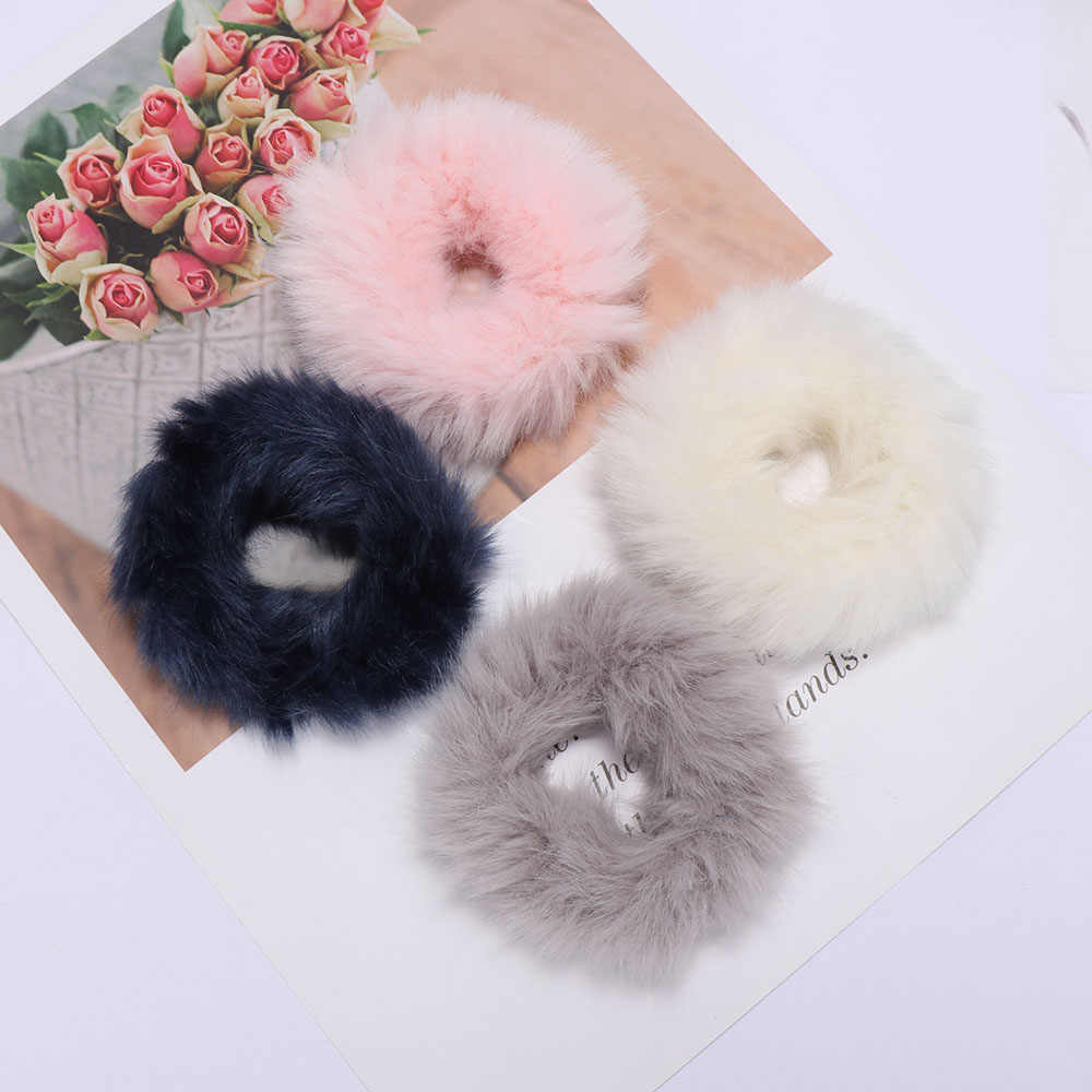 1 PC Fashion Fluffy Fur Furry Scrunchies Soft Elastic Hair Ring Hair Rope For Girls Hair Band Tie Round