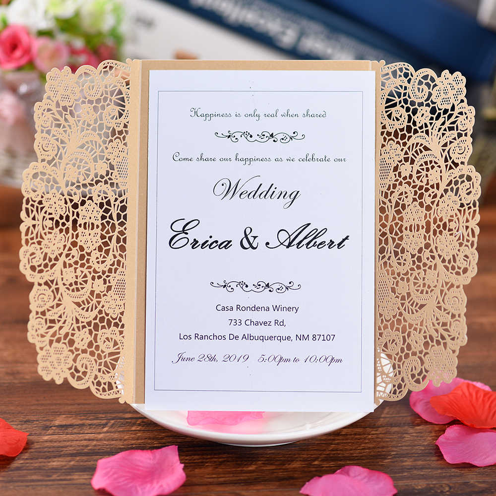 5 Sets Laser Cut Wedding Invitations
