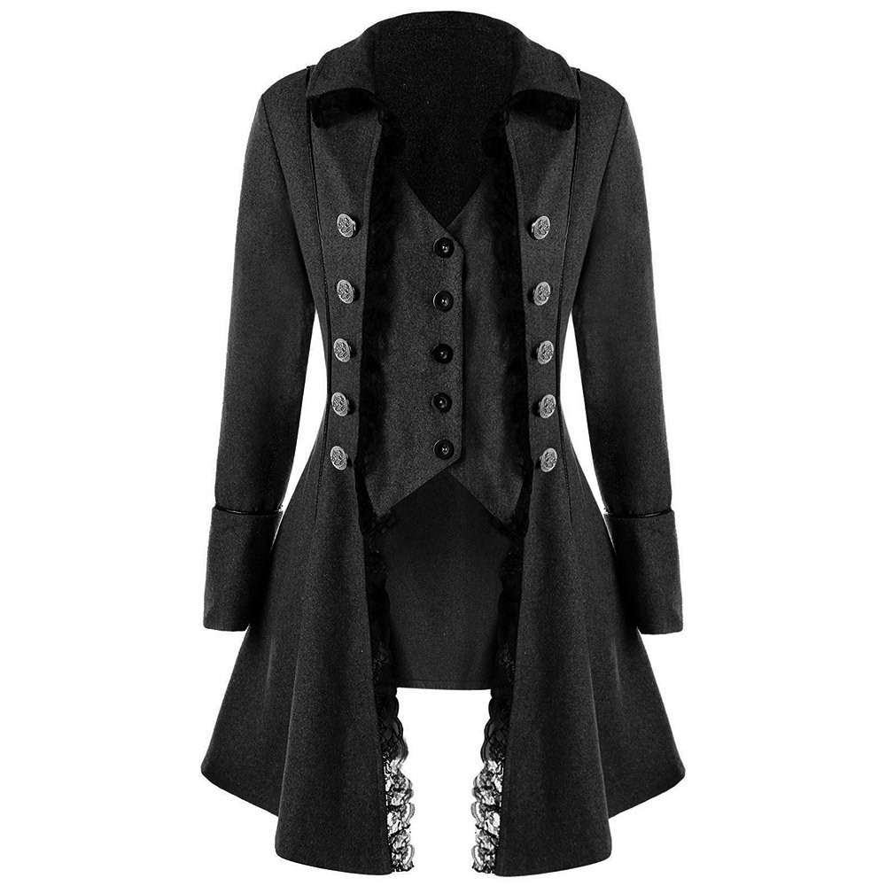 2018 Autumn Hot Gothic Casual Party Women Long Overcoats -3811