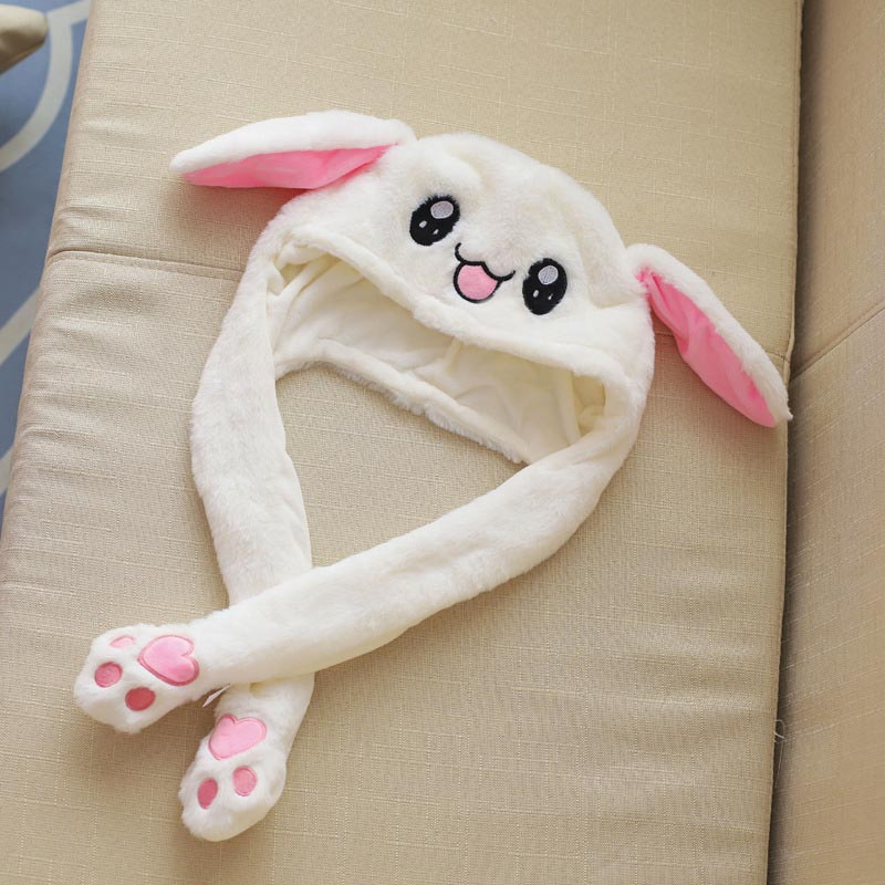 Cute Bunny Plush Hat Funny Playtoy Ear Up Down Rabbit Gift Toy For Kids Girls Girlfriend  -OPK