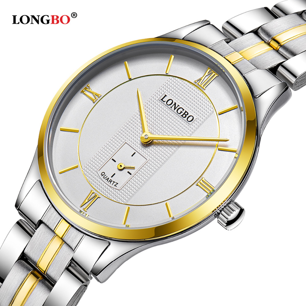 LONGBO Top Quality Men luxury Brand Watches Imitation Water Quartz Watch Male Steel Strap Ultra-thin Wristwatches 80230 mymei cotton knee pads kids anti slip crawl necessary baby knee protector leg warmers