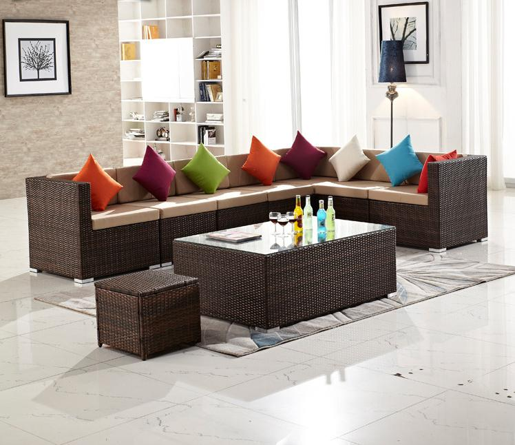 6 PCS Rattan Wicker Outdoor Patio Furniture Couch Rattan Wicker Sectional Sofa Cushioned Set