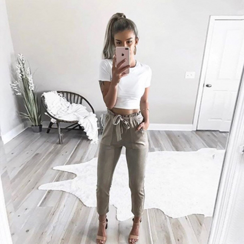 New Fashion women mid waist shirley pants suede taupe Casual female trousers autumn winter Leather bottoms female trouser