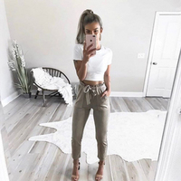 New Fashion Women Mid Waist Shirley Pants Suede Taupe Casual Female Trousers Autumn Winter Leather Bottoms