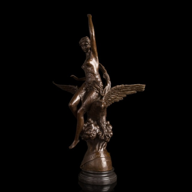 Bon Pet Arts Crafts Copper 100% Handmade Classical Lady Eagle Statues Large  Size Sculpture For Outdoor