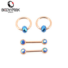 BODY PUNK New Rose Gold Blue AB Nipple 14g Industrial Barbell 4Pcs Set Helix Lip Piercing Rings Jewelry Women Gift(China)