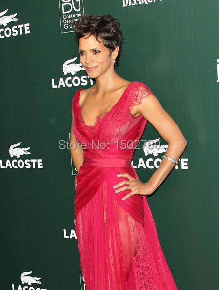 7bd01cd3ce6 13th Annual Costume Designers Guild Awards Halle Berry Dress Red Lace  Transparent Skirt Chiffon Evening Celebrities Dresses-in Celebrity-Inspired  Dresses ...