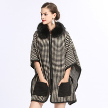 Women Capes Poncho With Pocket 2018 Winter Swallow Gird Faux Fur Shawl Knitted Sweater Plus Size Cardigan Coat With Fur Hat