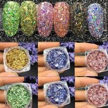 12jar/lot  Laser Colorful Broken Paillette Nail Glitter Sticker Charms Designs DIY Irregular Sequins Dust Powder CPT45353