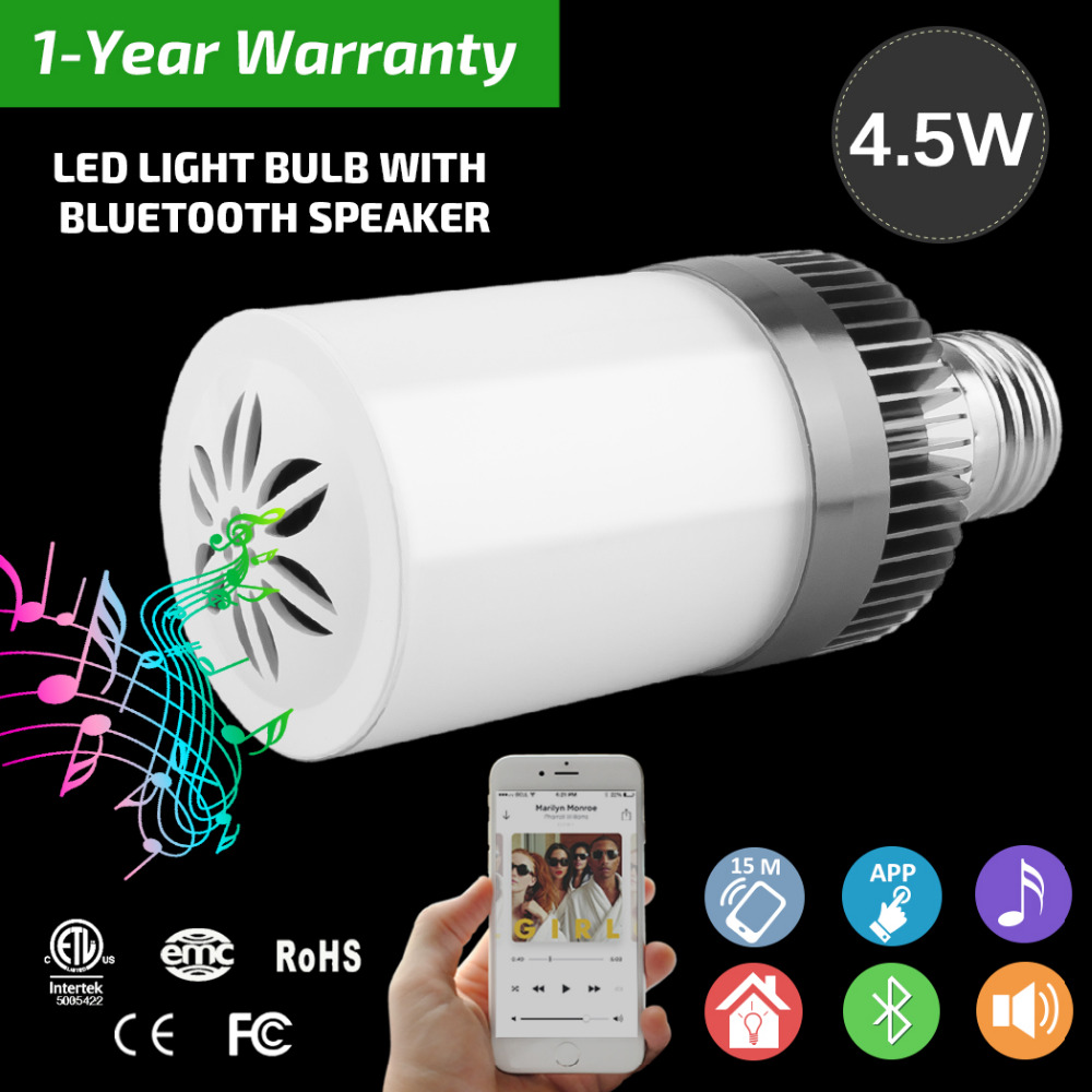 E27 220v Led Lamp Acrylic 3W 4.5W Wireless Wifi Remote Control Bluetooth Speaker Music Smart Led Bulb Lamp Fixtures BB SPEAKER cute rabbit 3w bluetooth 2 1 ch speaker w tf remote control white pink