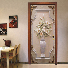 PVC Self-Adhesive Waterproof Door Wall Sticker 3D Stereo Vase Flowers Wallpaper Mural Living Room Study Home Decor Paste