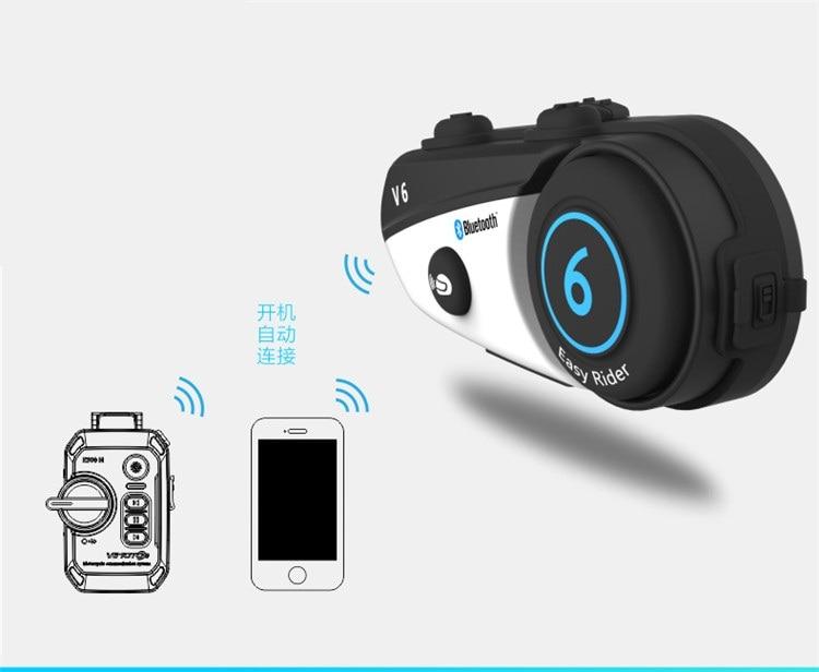Image 4 - Vimoto V6 BT Interphone Motorcycle Helmet Headset Intercom  simultaneously pair 2 different Bluetooth High fidelity  transmissionvimoto v6v6 btbt interphone -
